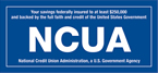Your savings federally insured to at least $250,000 and backed by the full faith and credit of the United States Government - NCUA National Credit Union Administration, a U.S. Government Agency